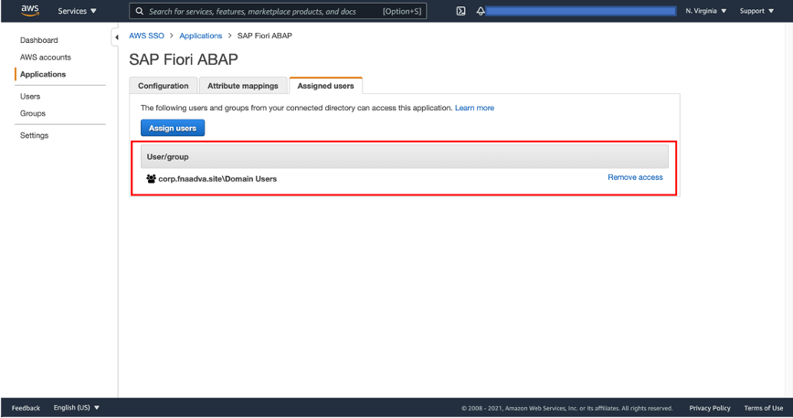 AWS SSO User Group ScreenShot