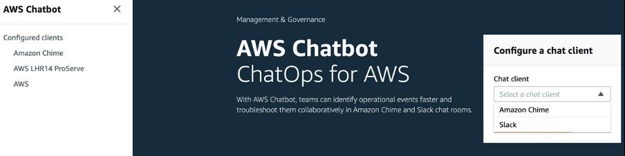 AWS Chatbot service screen to configure Slack client