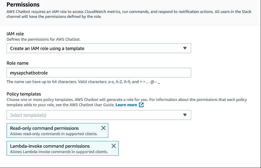 AWS Chatbot service screen providing IAM role details