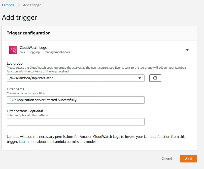 AWS Lambda service screen showing how to add trigger