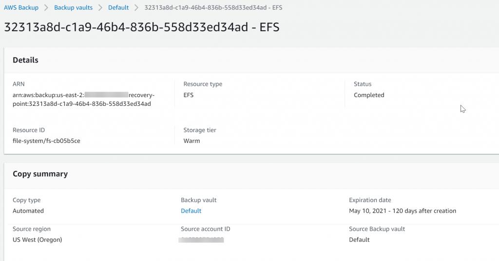 Backup vault for EFS