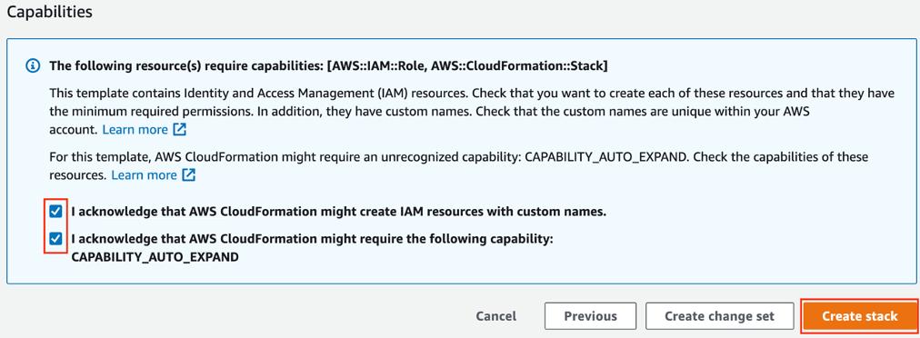 CloudFormation Acknowledgement