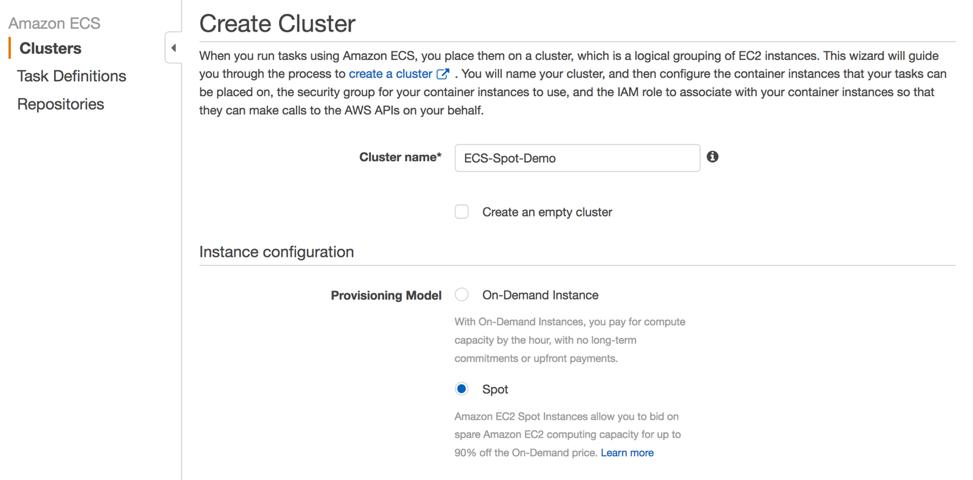ECS Create Cluster - Spot Fleet