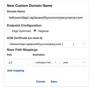 API Gateway create custom domain name