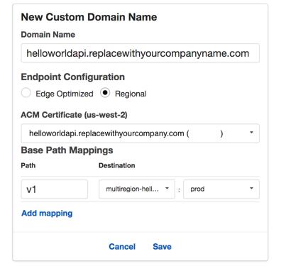 API Gateway create custom domain name