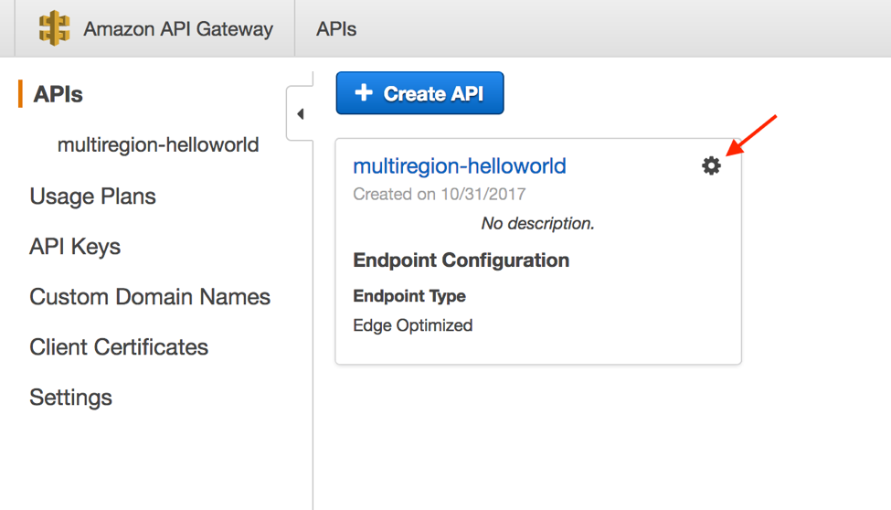 API Gateway edit API settings