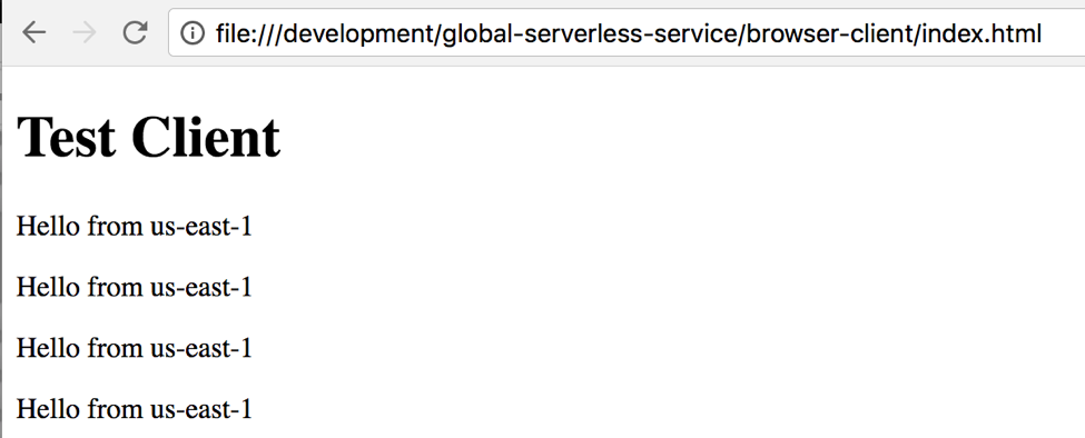 Serverless multi region browser test