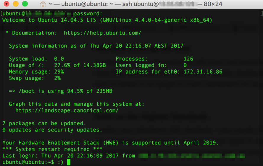 SSH Screenshot