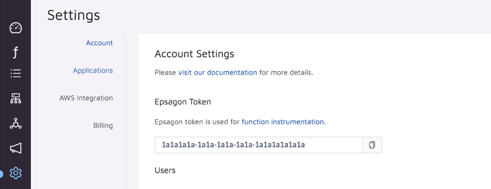 Epsagon Settings
