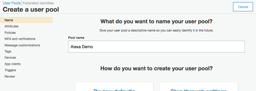 Create A User Pool