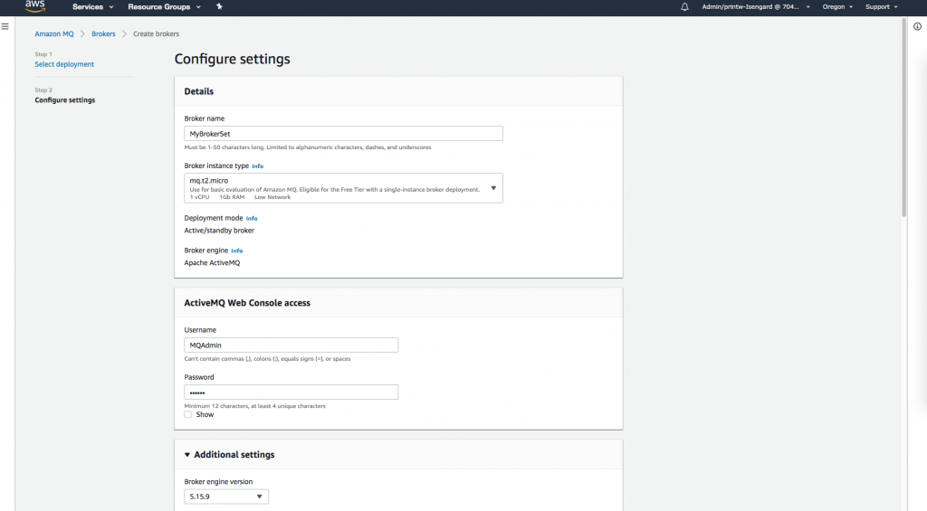 Configure Amazon MQ broker settings
