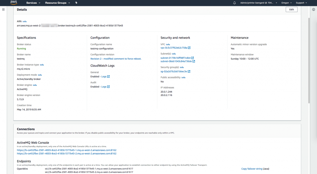 Amazon MQ dashboard