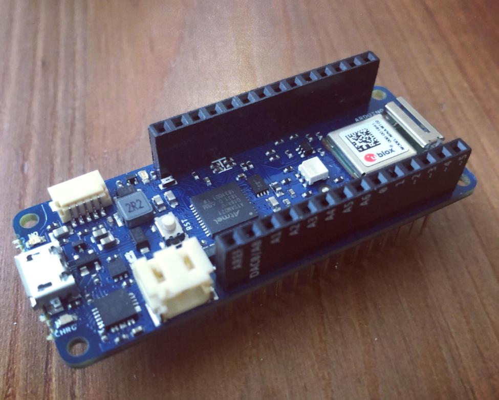 An Arduino MKR 1010 Wi-Fi microcontroller