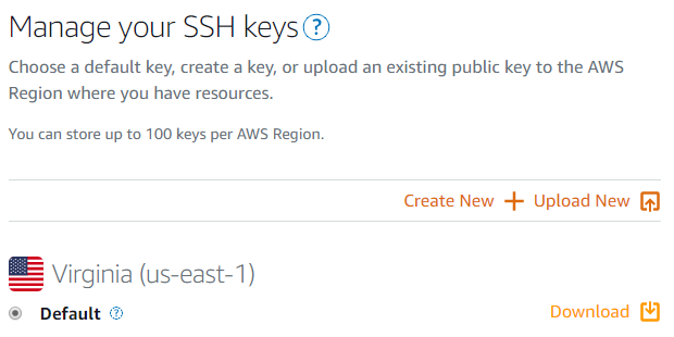 Click the download link to download the SSH key