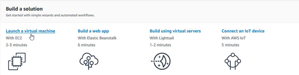 Once you logged into the AWS console, navigate to the Amazon Elastic Compute Cloud (Amazon EC2) and click on Launch a virtual machine