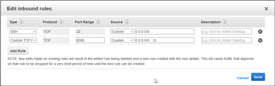 select the associated security group so we can modify the inbound rules to allow TCP accesses on port 8080