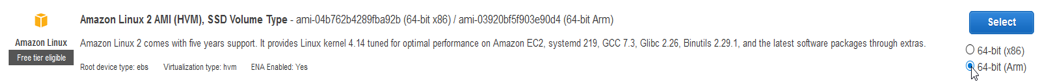 use Amazon Linux 2 because we want an AWS Graviton-based A1 instance we're selecting the 64-bit (Arm)