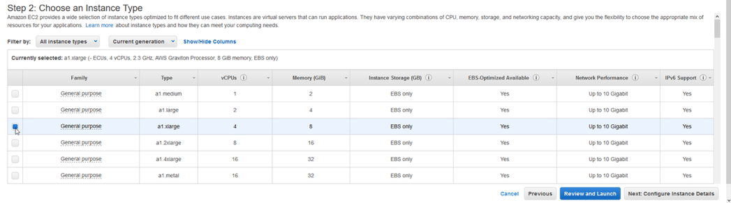 select an A1 instance type - an a1.xlarge that offers 4 x vCPU's and 8GB of memory