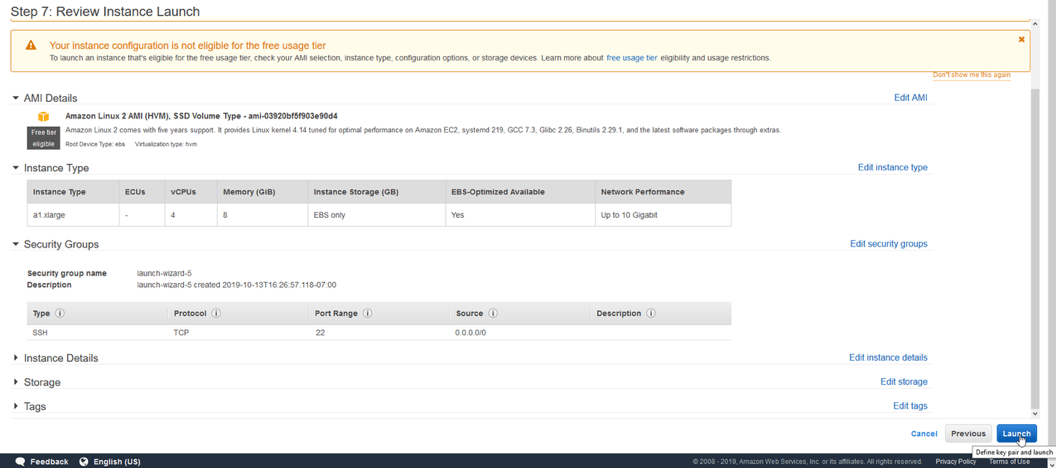 review a summary of your instance details