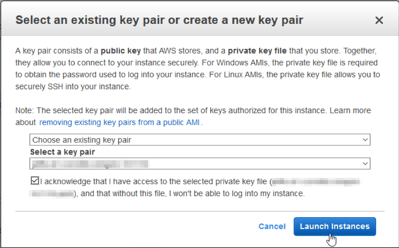 Select an existing key pair or create one
