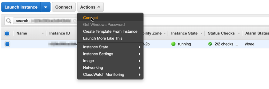 """select """"Connect"""" from the pop-up menu to get details and instructions on connecting to the instance"""