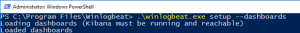 Powershell Console running the command .\winlogbeat.exe setup -dashboards inside the Winlogbeat directory