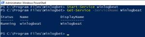 Powershell Console running the command Start-Service winlogbeat inside the Winlogbeat directory