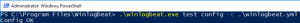 Powershell Console running the command .\winlogbeat.ext test config -c .\winlogbeat.yml inside the Winlogbeat directory