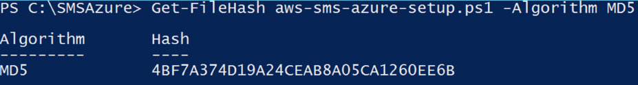 Command to validate the MD5 has of the aws-sems-azure-setup.ps1 script
