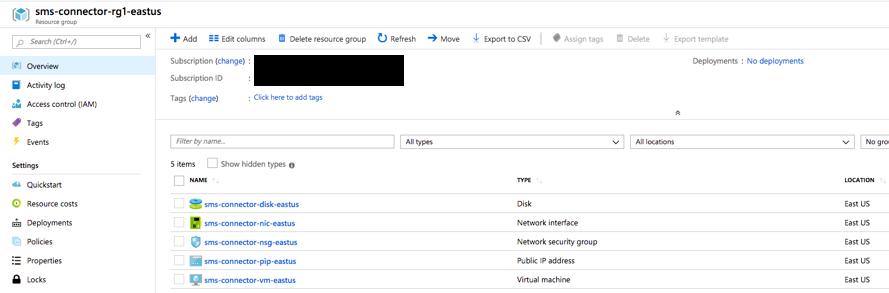 Screenshot of provisioned resources log in Microsoft Azure Portal