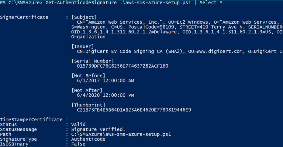 Command to validate validate if the PowerShell script has a valid Amazon Web Services signature