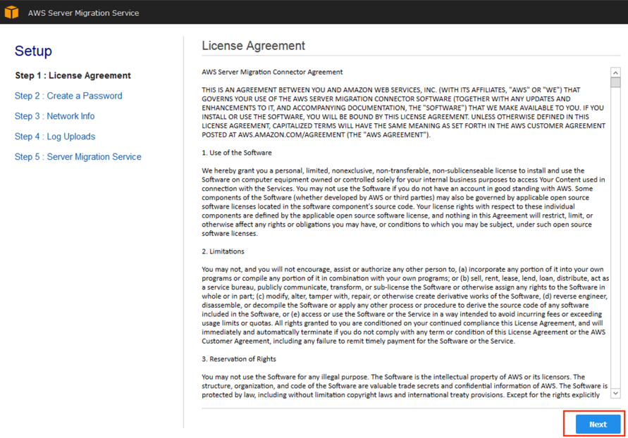 Screenshot of accepting terms of contract