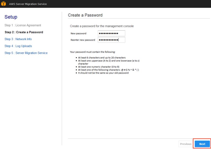 Screenshot of creating a password