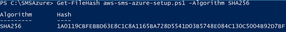 Command to validate the SHA256 hash of the aws-sms-azure-setup.ps1 file