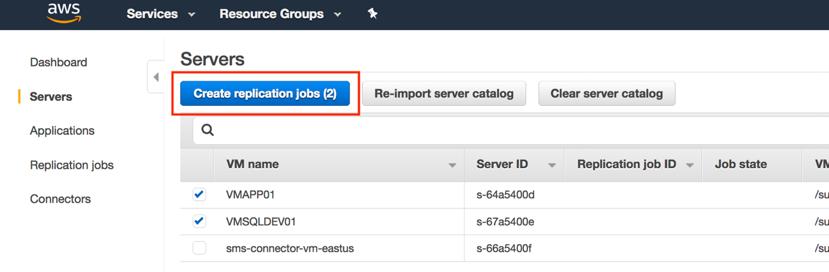 Screenshot of Azure virtual machines migration