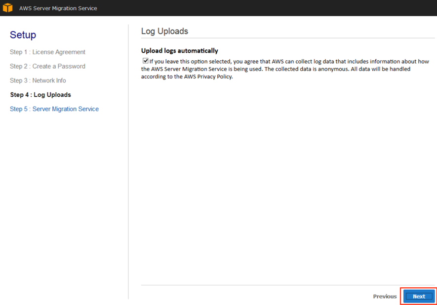 Screenshot of option to add log data to AWS