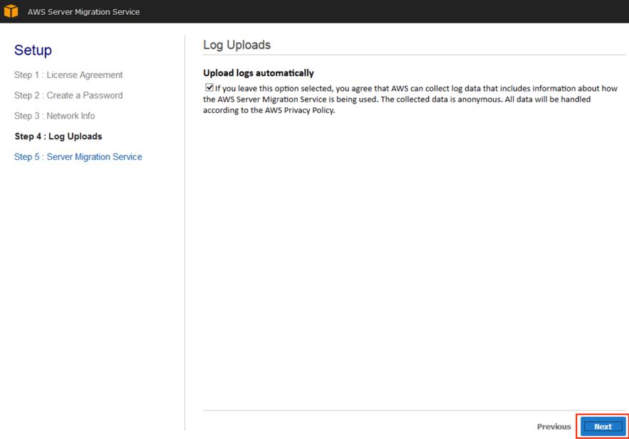 Screenshot of option to add log data to AWS