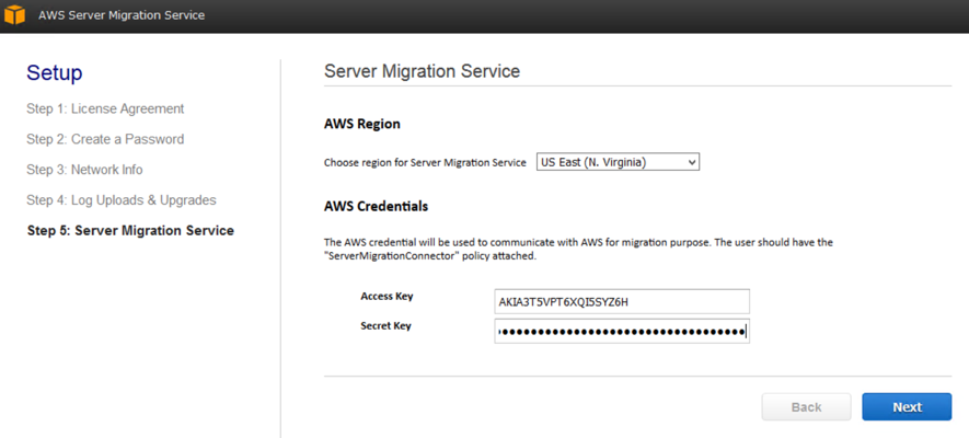Selet AWS Region, and Insert Access Key and Secret Key