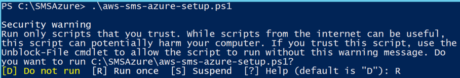 Screenshot of running the installation script