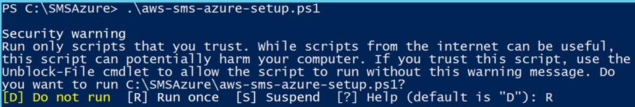 Screenshot of running the installation script