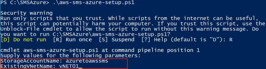 Screenshot of where to enter Storage Account Name and Azure Virtual Network