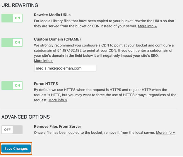 Screenshot of the cloud distribution network settings in the S3 plugin