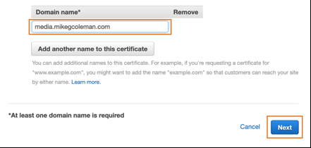 Screen shot showing domain name dialog