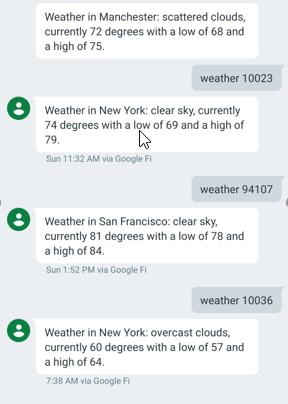 The SMS weatherbot responds to a request.
