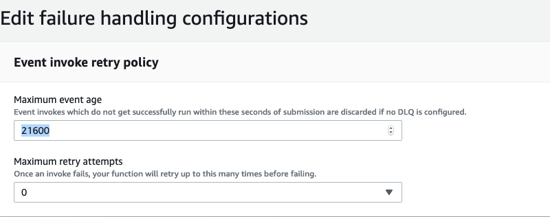 Edit failure handling configurations