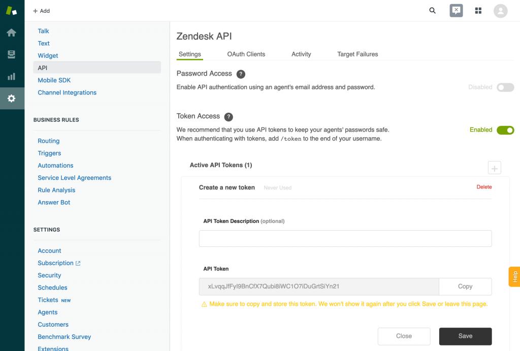 Creating a Zendesk API token.