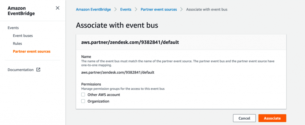 Associating event source with event bus