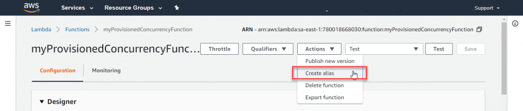 4. Go to the Actions drop-down and choose Create alias