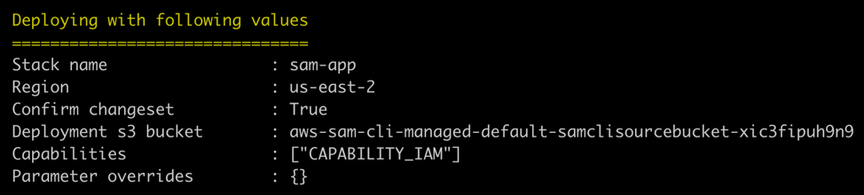 SAM deploy values