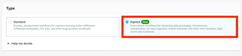 Figure 2 New Express Workflow option